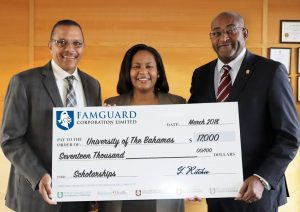 FamGuard Corporation Presented Scholarship Donation To University Of The Bahamas
